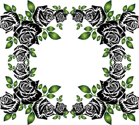 black roses silhouette frame with green leaves