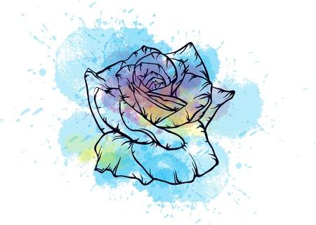 blue watercolor rose Vector