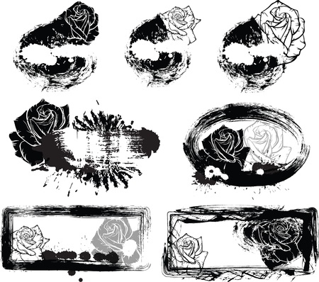floral grunge labels  black roses Vector