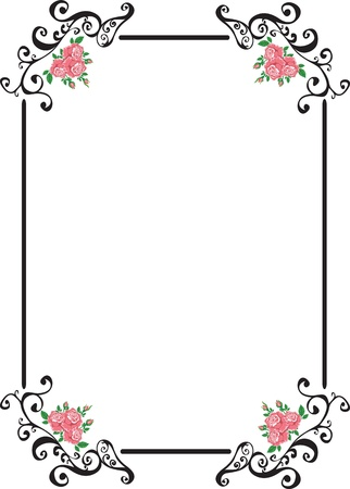 frame with pink retro roses Stock Vector - 19115304