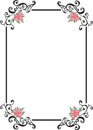 art frame: frame with pink retro roses Illustration