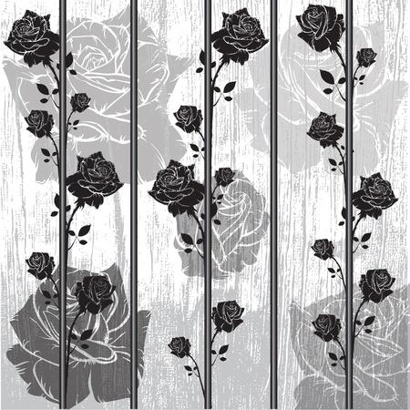 graphic black roses wall design Illustration