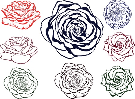 rose silhouette: outline rose flowers