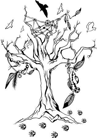 native american tomahawk: american indian ritual tree with feathers and other attributes Illustration
