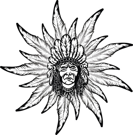 chieftain: uomo nativo americano e telaio piuma Vettoriali