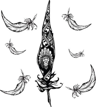 chieftain: nativo americano uomo ritratto scolpito nel simbolo piuma Vettoriali