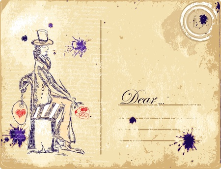old diary: vintage postcard grungy romantic background Illustration