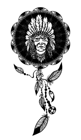 indian chief mascot: dream catcher with native american man portrait ethnic symbol Illustration
