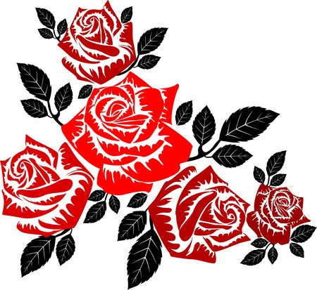 red roses silhouette pattern