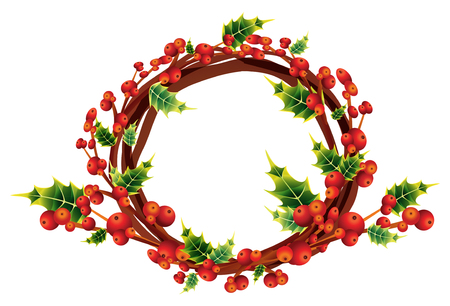 christmas holly wreath,winter decoration bouquet Vector