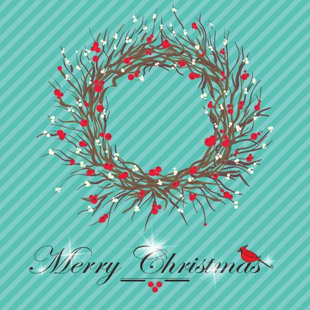 snow wreath: christmas holly and mistletoe wreath  Illustration