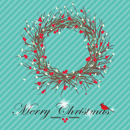 holly leaves: christmas holly and mistletoe wreath  Illustration