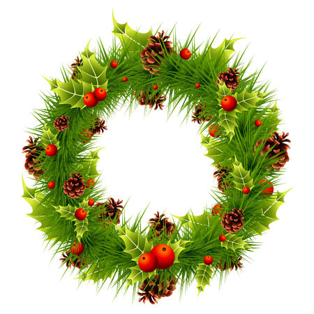 festive pine cones: christmas pine and holly wreath Illustration