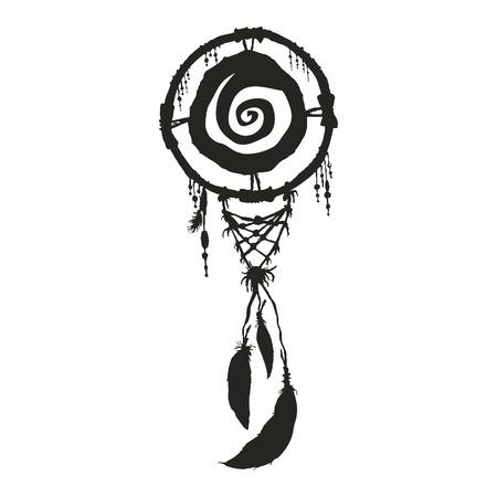 夢 carcher 黒いシルエットのネイティブ アメリカンのシンボル  イラスト・ベクター素材
