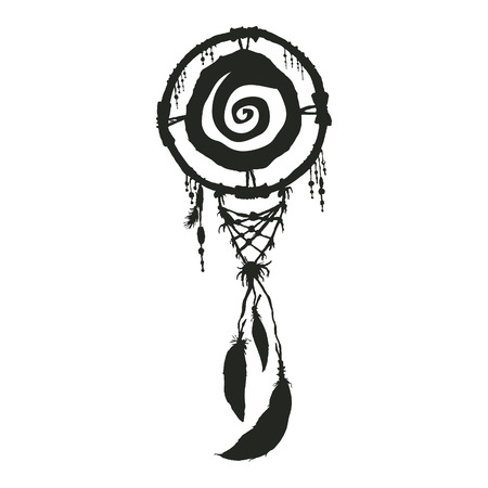 native american art: dream carcher black silhouette native american symbol Illustration