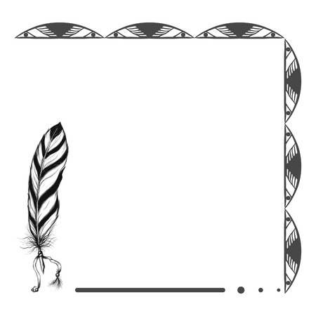 ethnic native american background with feather and original pattern Illustration