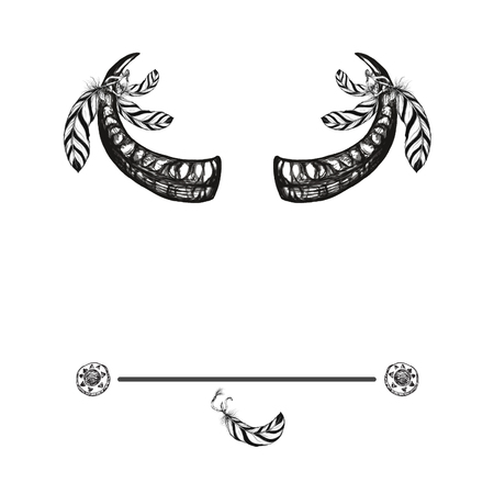 animal ritual: buffalo horns with indian feathers ethnic background Illustration