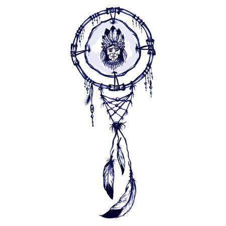 dreamcatcher: s�mbolo cham�nico nativo americano con el nativo americano del hombre portret