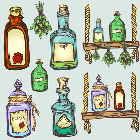 alchemy magic craft, set of potions and elixirs Vector