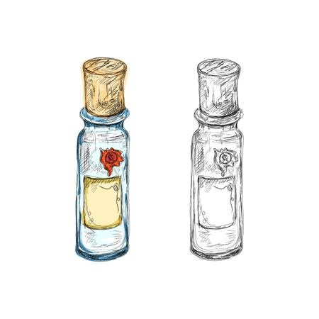 pocion: frascos apotechary dibujados a mano con los lables en blanco Vectores