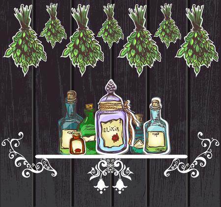 fiole: potions � base de plantes cru fond en bois apothicaire vieille tradition et de l'artisanat Illustration