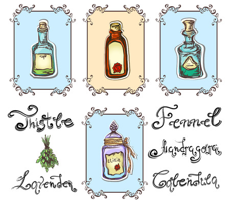 apothecary: magic herbal potions set Illustration