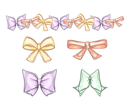 twiddle: set of bows in pastel tones childlike dolly style Illustration