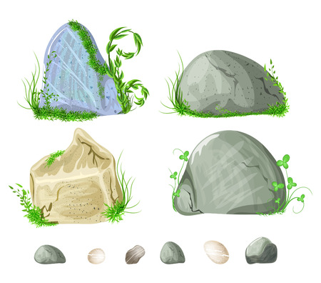 stony: set of stones, rocks with grass, moss elements for design Illustration