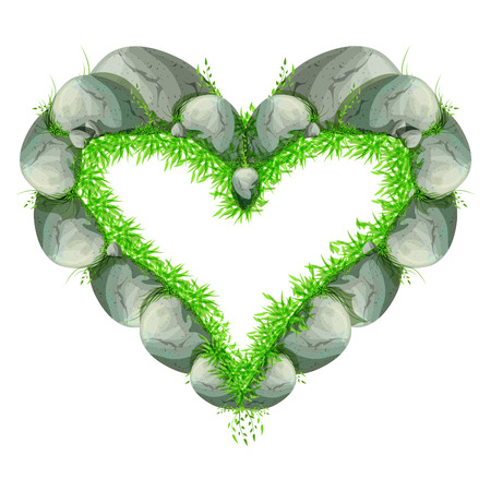 heart of stone: stone heart made out of rocks with green grass Illustration