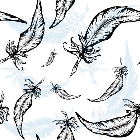 animal ritual: feather silhouettes seamless texture Illustration