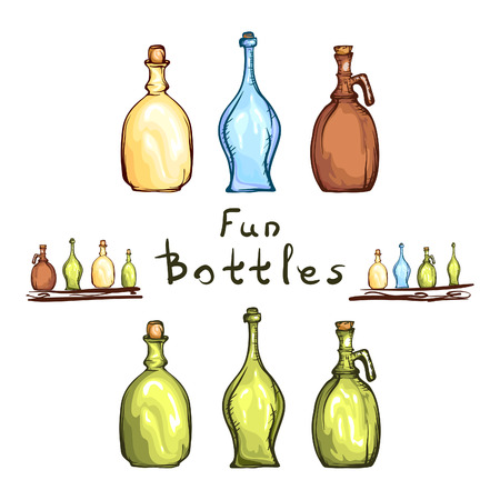 artistic hand drawn fun bottles