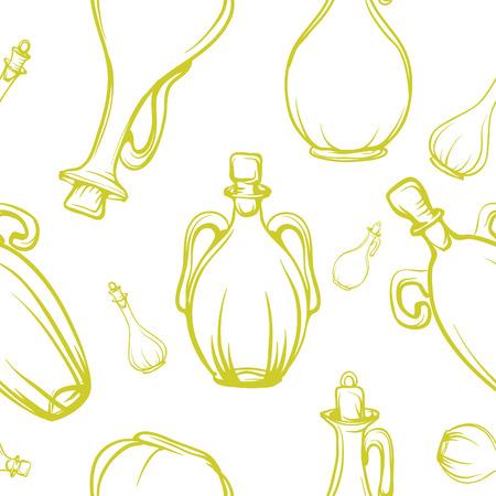 aceite de oliva virgen extra: art�sticas botellas retro textura sin fisuras