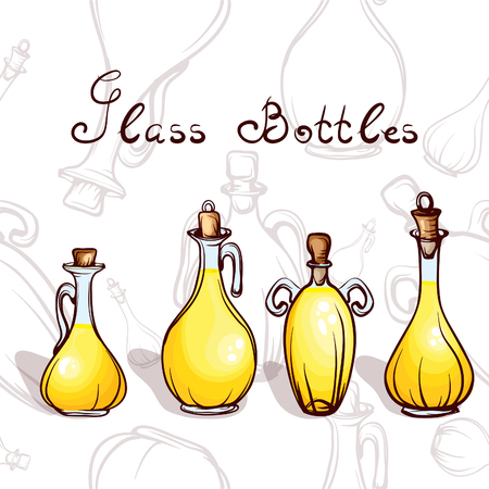isilated: glass bottles with olive oil Illustration