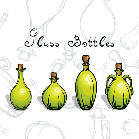 isilated: green glass bottles for different drinks and liquid Illustration