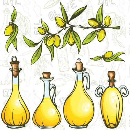 oil bottles set with olive branch on the seamless background Vector