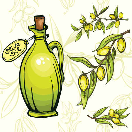 olive oil bottle with olive branches on the seamless texture Vector