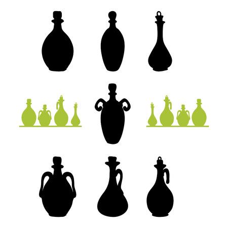 isilated: olive oil bottles black silhouettes Illustration