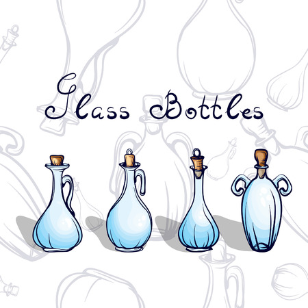 isilated: artistic glass bottles for oil,wine other liquid Illustration