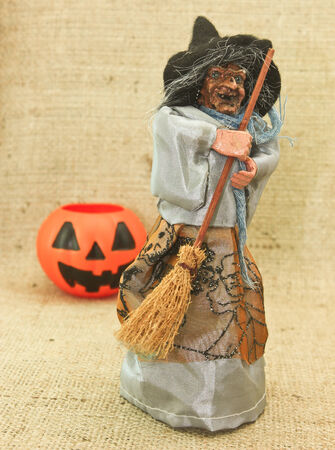 Happy Halloween with Creepy Ugly Witch & jack the lanternHalloween trick or treat photo