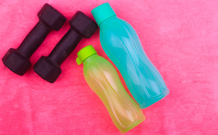 sports wear: Gym Gear, gym clothes and sports wear kit for working out Stock Photo