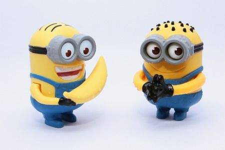 Cairo, Egypt - August 3, 2015: Minions Figurine issued with McDonalds Happy Meals in 2015. The toys are issued in conjunction with Happy Meal Purchases to promote the release of the Minion movie.Minions toy an action figure from Despicable Me 2 animated 3