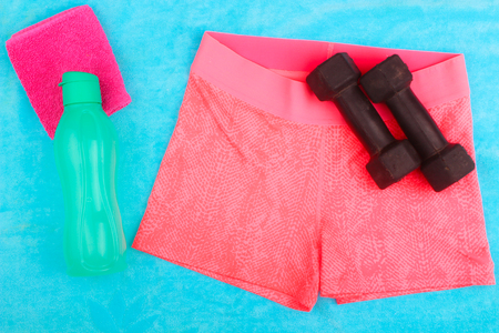 Gym Gear, gym clothes and sports wear kit for working out Stock Photo