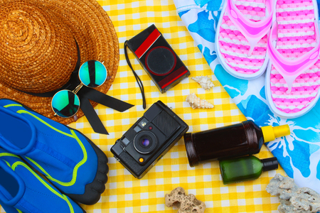 sun lotion: Beach Time Summer Travel Kit featuring sleepers, bikini, radio, sun lotion, lotion, hat & camera