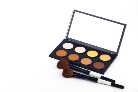blender: Makeup and Cosmetics. Makeup Palette and tools on a white background