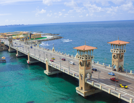 Stanley Bridge in a Beautiful Sunny Winter day with the Background of the Mediterranean Sea and the Streets and Beautiful beaches of Alexandria, Egypt