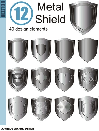 silver shield set Illustration