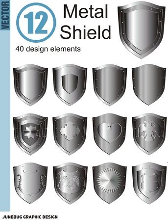 silver shield set 向量圖像