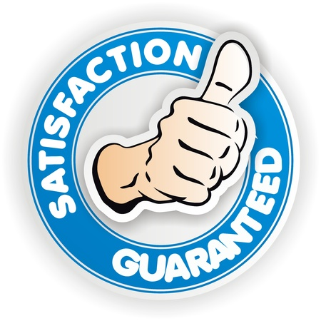 satisfaction blue sign