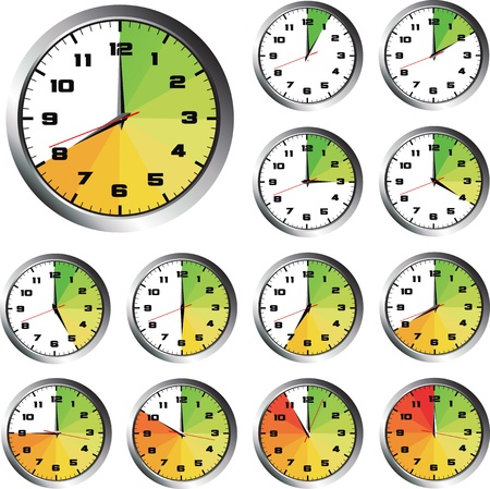 timepiece: 12 hours clock set with energy bar Illustration