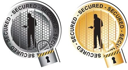 Secured Armed Man Sign Stock Vector - 17584721